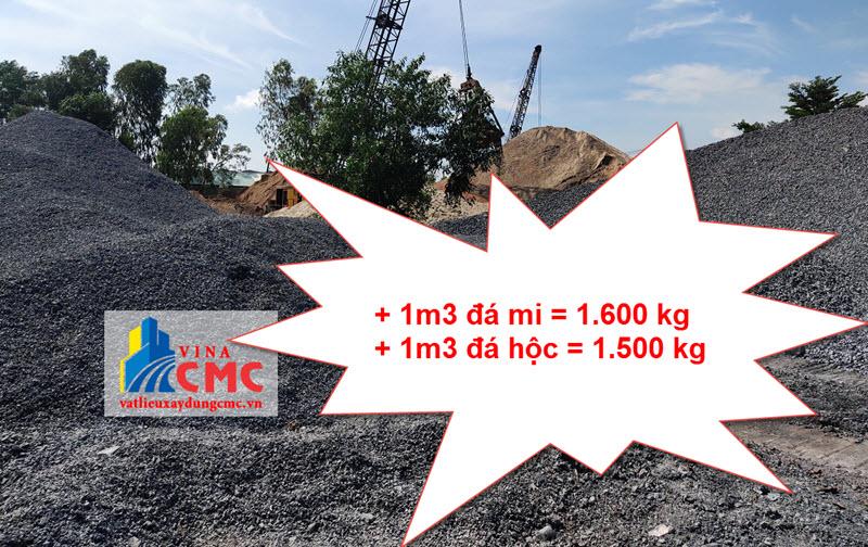 1m3 đá mi bằng bao nhiêu kg