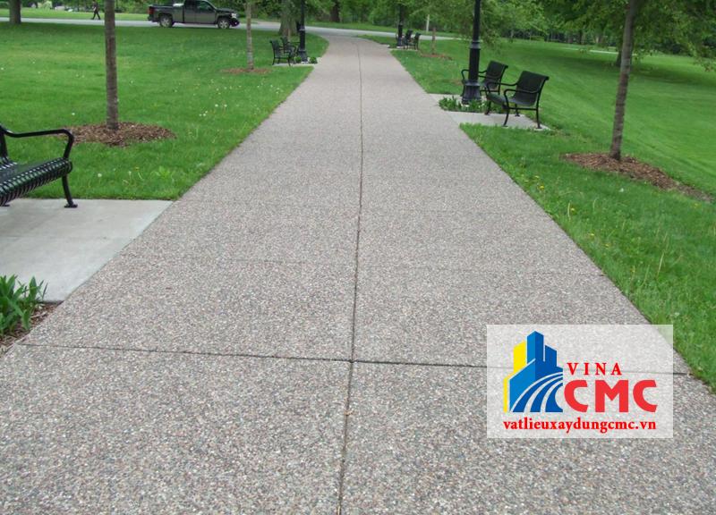 Bê tông đá rửa lót đường công viên