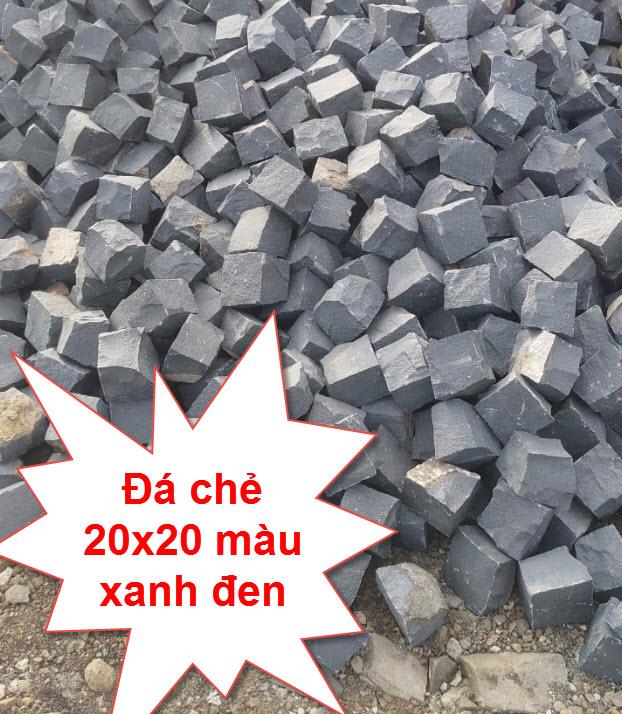 Đá chẻ 20x20x25 màu xanh đen