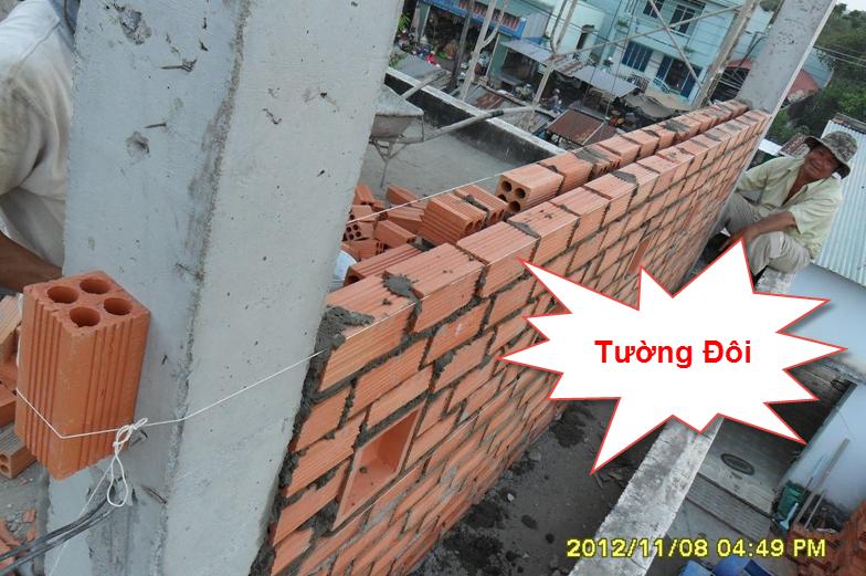 Tường đôi có độ dày 220 mm