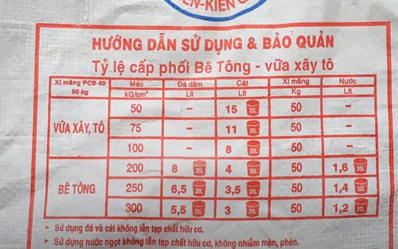Tỷ lệ trộn xi măng cát đá