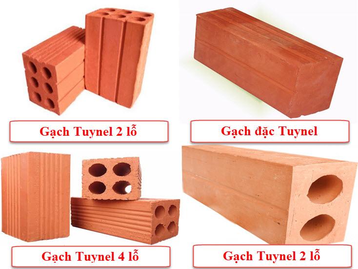 Gạch Tuynel được phân thành 4 loại cơ bản bảo gồm: gạch đặc, gạch 2 lỗ, gạch 4 lỗ và gạch 6 lỗ