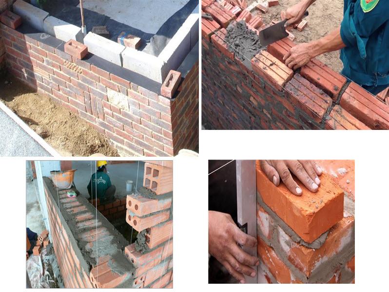 Xây tường gạch cần tiến hành đặt dây căng điều chỉnh độ bằng phẳng cùng các biện pháp khác