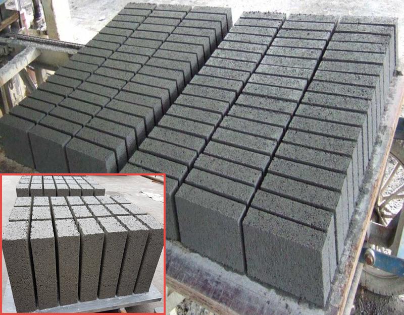Gạch đặc không nung loại gạch được sản xuất từ hỗn hợp xi măng, cát, đá và nước