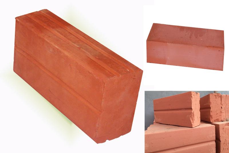 Gạch đặc đất sét nung được sử dụng trong hầu hết các công trình xây dựng với màu đỏ cam hoặc đỏ sẫm từ đất sét.